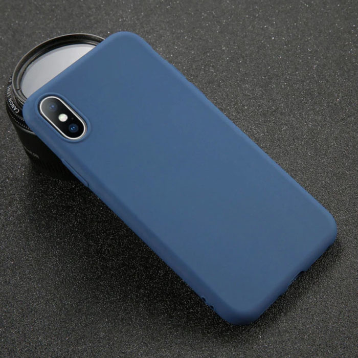 Ultraslim iPhone XS Silicone Hoesje TPU Case Cover Navy
