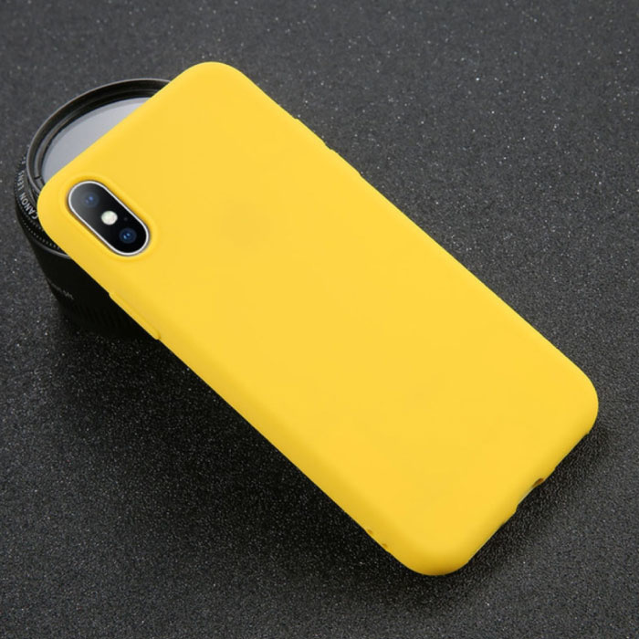 USLION iPhone XS Ultra Slim Etui en silicone TPU couverture jaune