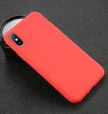 USLION iPhone XS Max Ultra Slim Etui en silicone TPU couverture rouge