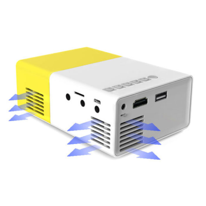 Salange YG300 LED Projector - Mini Beamer Home Media Player Yellow