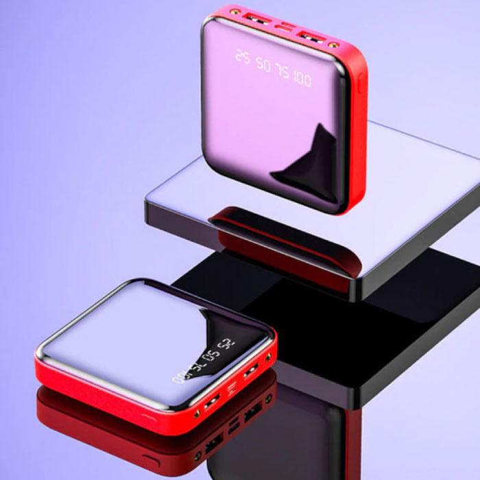 Mini chargeur externe 20,000mAh Powerbank 2x USB LED Display Chargeur de batterie d'urgence rouge