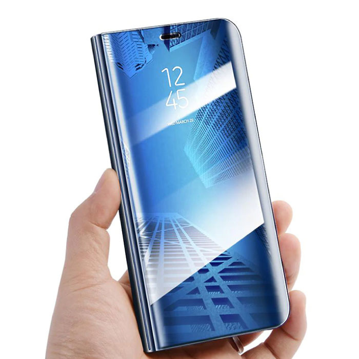 Stuff Certified ® Samsung Galaxy S10 Plus Smart Mirror Flip Case Cover Case Blue