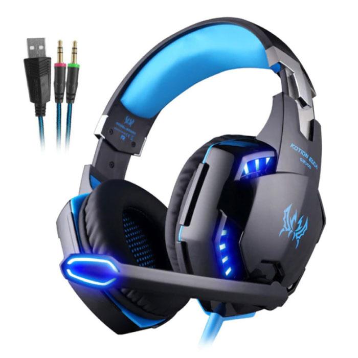 CHAQUE G2000 Écouteurs de jeu stéréo Casque avec microphone bleu
