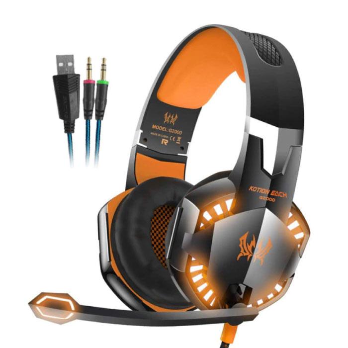 EACH G2000 Casque de jeu stéréo Casque avec microphone Orange