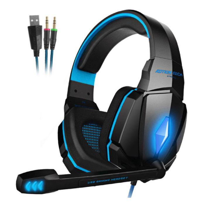 CHAQUE G4000 Écouteurs de jeu stéréo Casque d'écoute avec microphone bleu