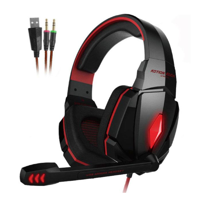 CHAQUE G4000 Écouteurs de jeu stéréo Casque d'écoute avec microphone rouge