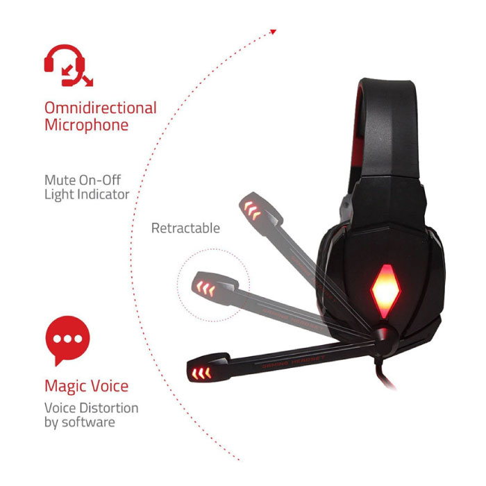 Kotion EACH G4000 Stereo Gaming Koptelefoon Headset Headphones met Microfoon Rood