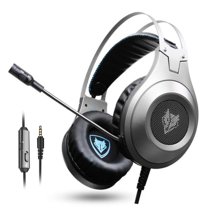 Casque d'écoute de jeu stéréo N2 Casque avec microphone argenté