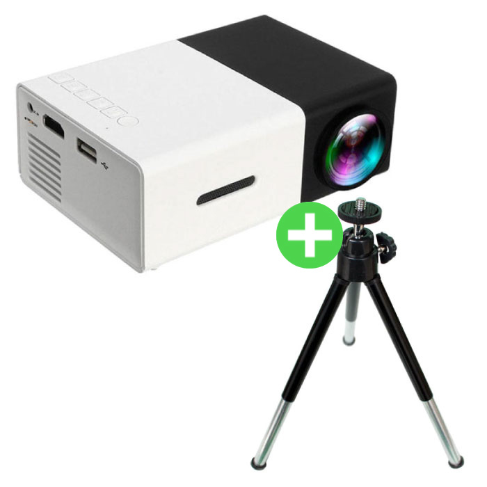 YG300 LED Projector & Tripod - Mini Beamer Home Media Player Black