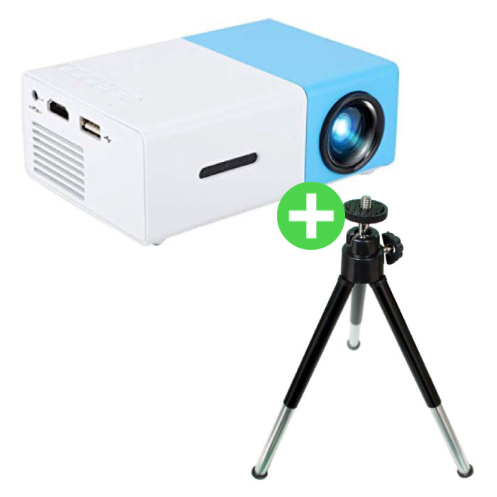 YG300 LED Projector & Tripod - Mini Beamer Home Media Player Blue