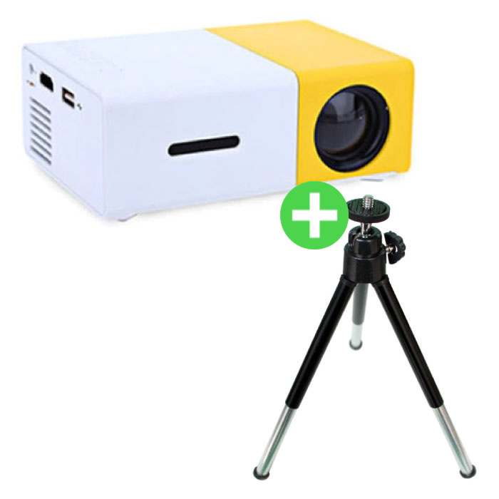 YG300 LED Projector & Tripod - Mini Beamer Home Media Player Yellow