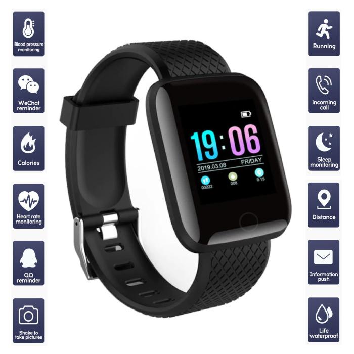 Sports Smartwatch BIONIC X1 Fitness Sport Activity Tracker Smartphone Horloge iOS Android Zwart
