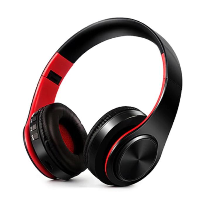 Draadloze Koptelefoon Bluetooth Wireless Headphones Stereo Gaming Rood-Zwart
