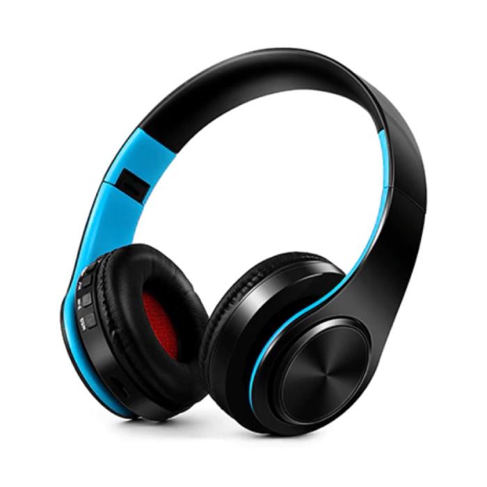 Draadloze Koptelefoon Bluetooth Wireless Headphones Stereo Gaming Blauw-Zwart