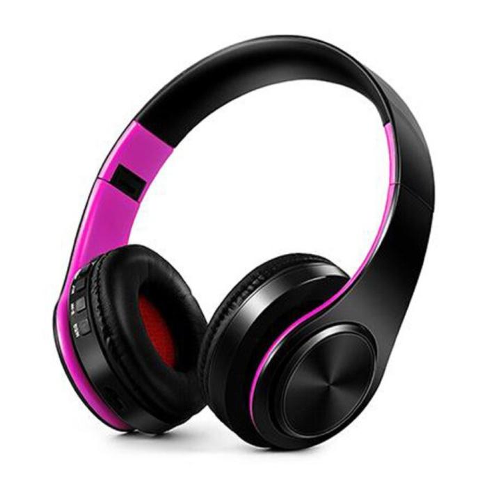Draadloze Koptelefoon Bluetooth Wireless Headphones Stereo Gaming Paars-Zwart