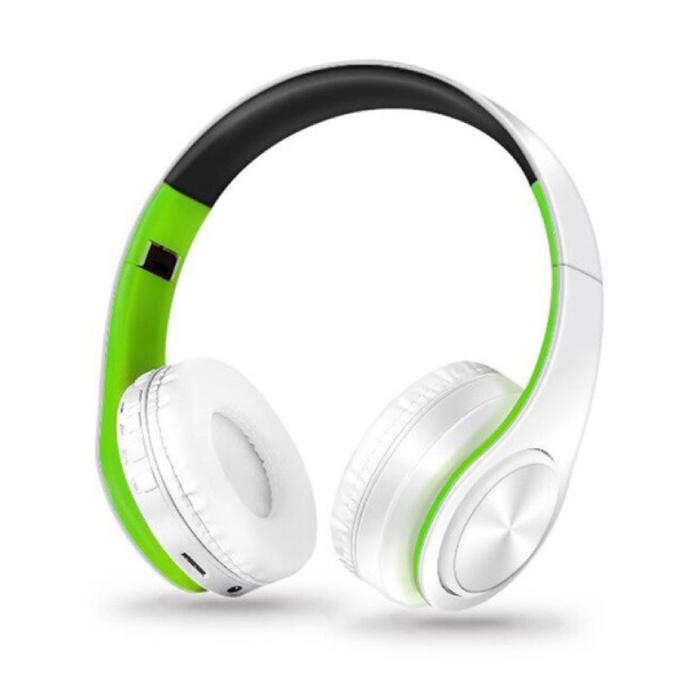 Draadloze Koptelefoon Bluetooth Wireless Headphones Stereo Gaming Groen-Wit