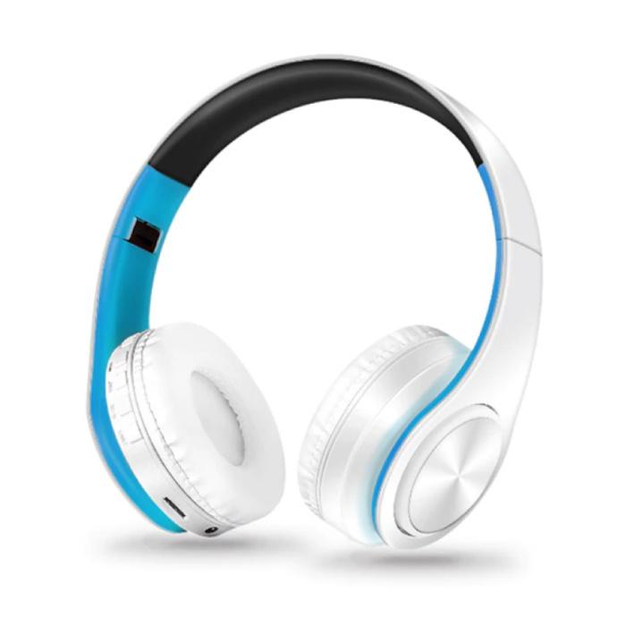 Draadloze Koptelefoon Bluetooth Wireless Headphones Stereo Gaming Blauw-Wit