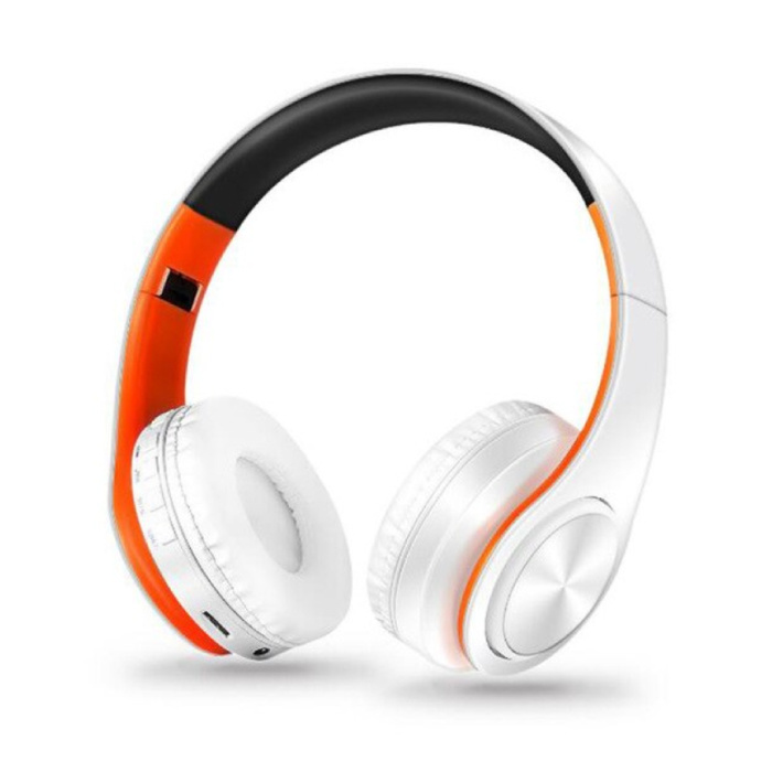Draadloze Koptelefoon Bluetooth Wireless Headphones Stereo Gaming Oranje-Wit