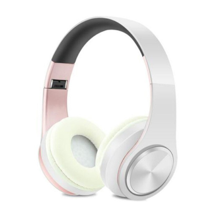 Draadloze Koptelefoon Bluetooth Wireless Headphones Stereo Gaming Roze-Wit