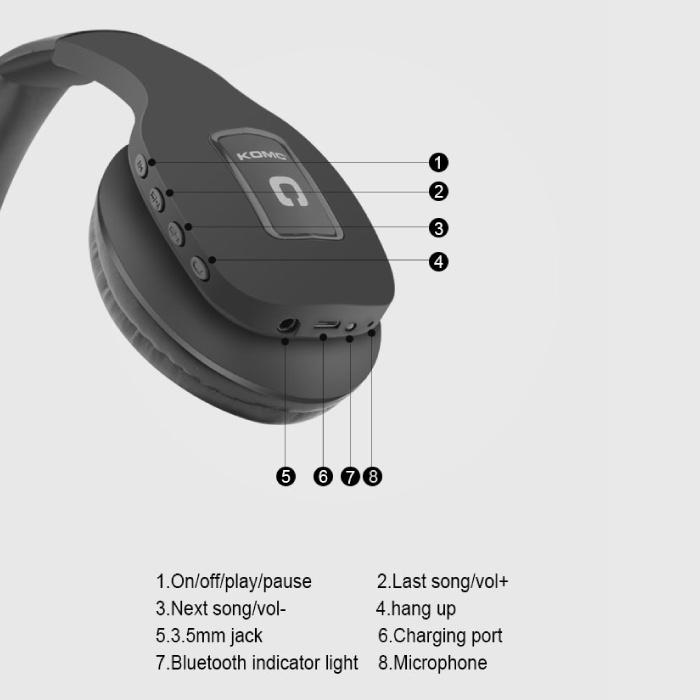 KOMC Draadloze Koptelefoon Bluetooth Wireless Headphones Stereo Gaming Zwart