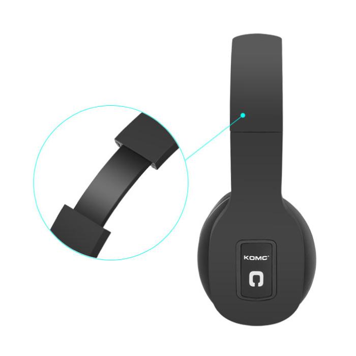 KOMC Casque sans fil Bluetooth Casque stéréo sans fil Gaming Noir