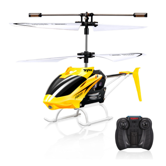 W25 Falcon Mini RC Drone Helicopter Toy Gyro Lights Yellow