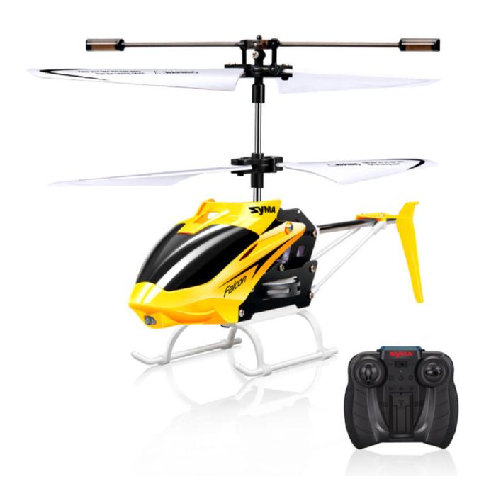 W25 Falcon Mini RC Drone Helikopter Speelgoed Gyro Lampjes Geel