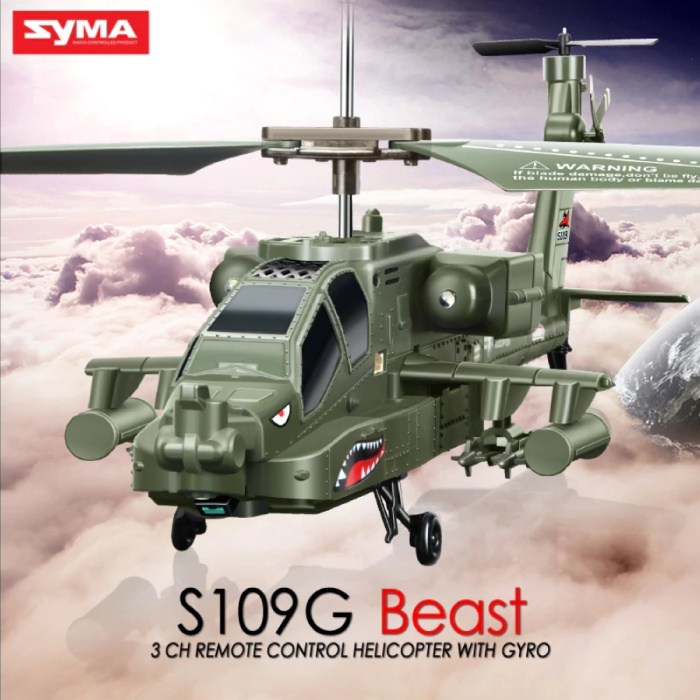 Syma S109G Mini RC Drone Beast Apache Attack Helicopter Toy with Gyro Stabilization