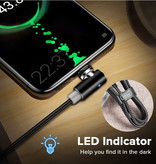 INIU USB 2.0 - iPhone Lightning Magnetische Oplaadkabel 1 Meter Gevlochten Nylon Oplader Data Kabel Data Zwart