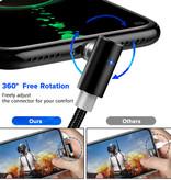 INIU USB 2.0 - Micro-USB Magnetische Oplaadkabel 2 Meter Gevlochten Nylon Oplader Data Kabel Data Android  Zilver