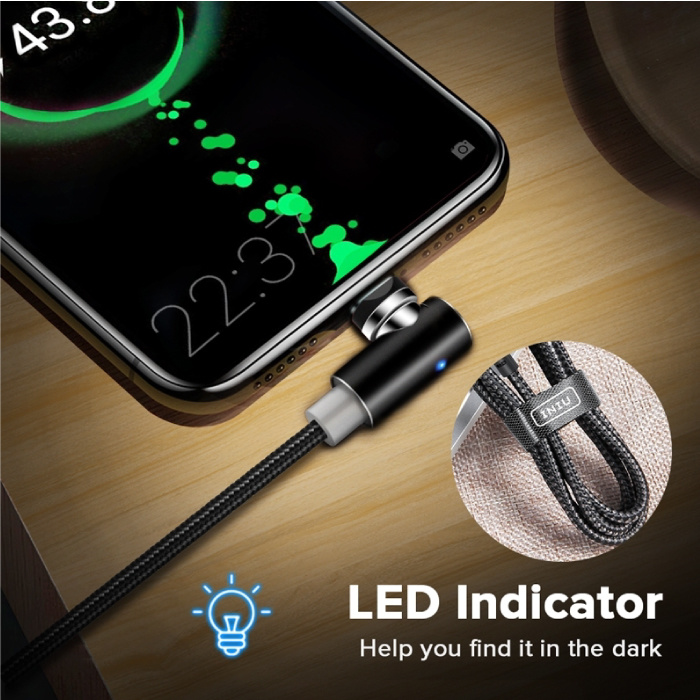 INIU USB 2.0 - iPhone Lightning Magnetische Oplaadkabel 2 Meter Gevlochten Nylon Oplader Data Kabel Data Zwart