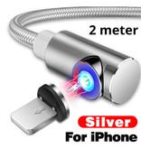 INIU USB 2.0 - iPhone Lightning Magnetische Oplaadkabel 2 Meter Gevlochten Nylon Oplader Data Kabel Data Zilver