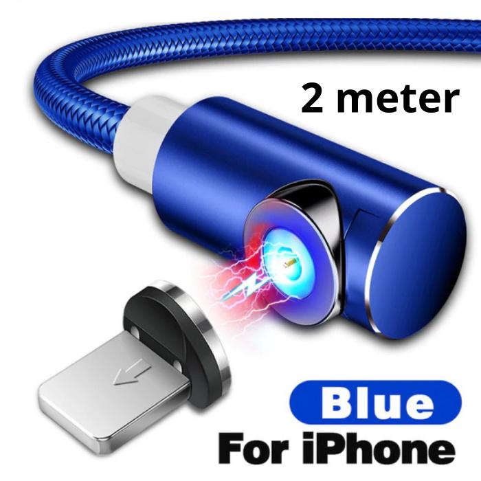 INIU USB 2.0 - iPhone Lightning Magnetische Oplaadkabel 2 Meter Gevlochten Nylon Oplader Data Kabel Data Blauw