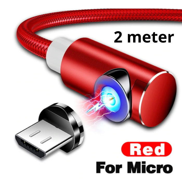USB 2.0 - Micro-USB Magnetic Charging Cable 2 Meter Braided Nylon Charger Data Cable Data Android Red