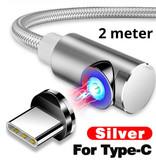 INIU USB 2.0 - USB-C Magnetische Oplaadkabel 2 Meter Gevlochten Nylon Oplader Data Kabel Data Android  Zilver