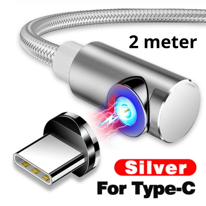 USB 2.0 - USB-C Magnetic Charging Cable 2 Meter Braided Nylon Charger Data Cable Data Android Silver