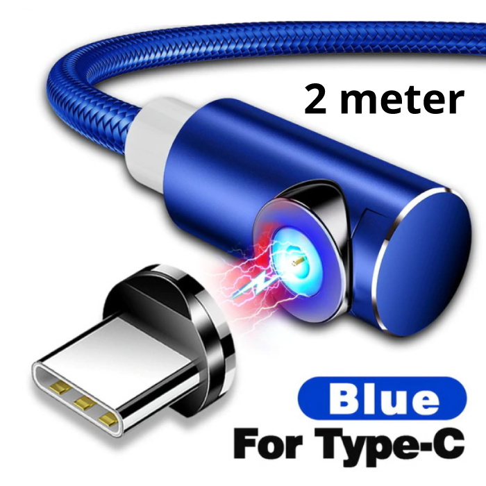 USB 2.0 - USB-C Magnetic Charging Cable 2 Meter Braided Nylon Charger Data Cable Data Android Blue