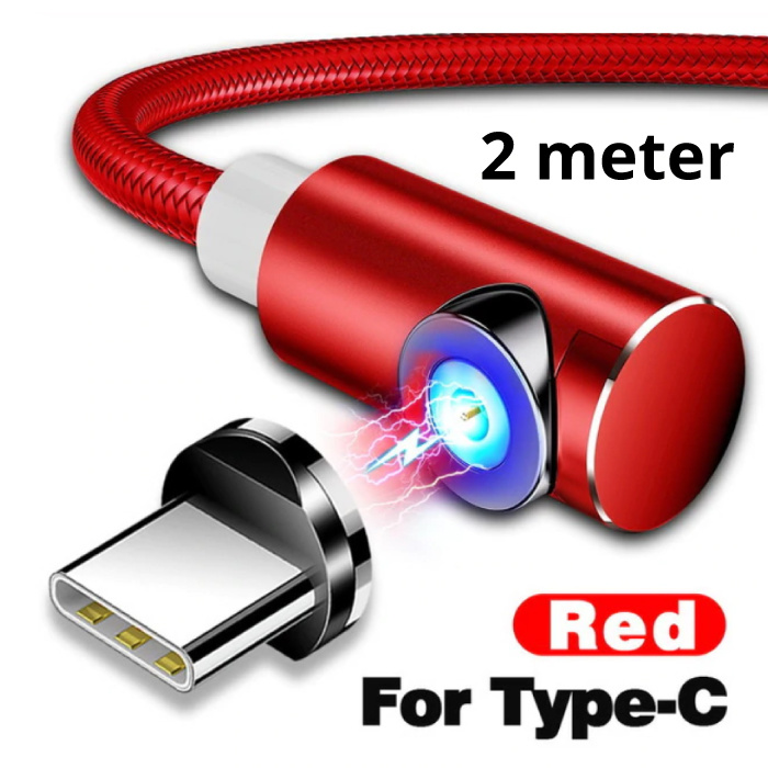 USB 2.0 - USB-C Magnetic Charging Cable 2 Meter Braided Nylon Charger Data Cable Data Android Red