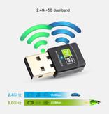 Stuff Certified® Wifi USB Mini Dongle Network Wireless  600Mb/s 5GHz Antenne Adapter Adaptor Wit