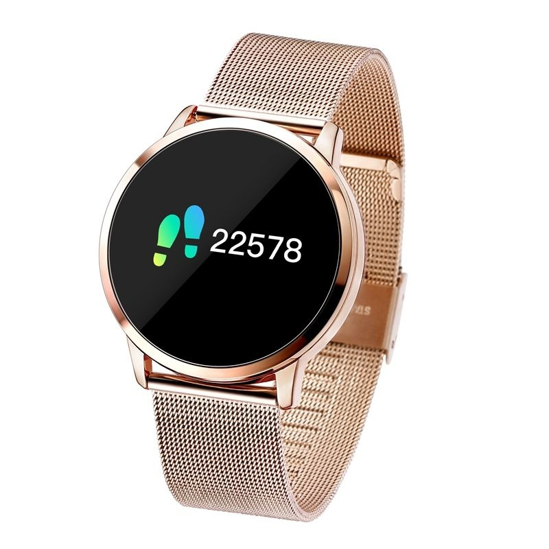 Q8 originale intelligente Band Fitness Sports Tracker Activité Smartwatch Regarder OLED Smartphone iOS iPhone Android Samsung Huawei Or Métal