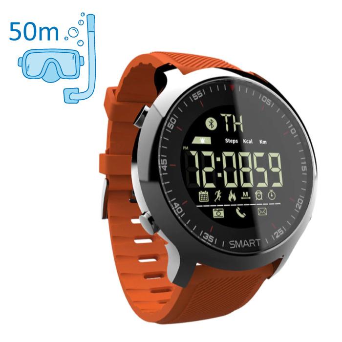 Waterdichte Sport Smartwatch Fitness Activity Tracker Smartphone Horloge iOS Android iPhone Samsung Huawei Oranje