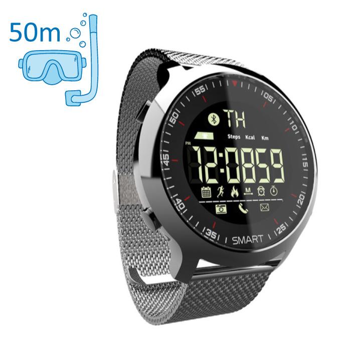 Waterdichte Sport Smartwatch Fitness Activity Tracker Smartphone Horloge iOS Android iPhone Samsung Huawei Zilver