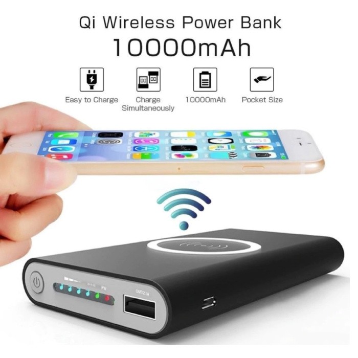 Stuff Certified® Draadloze Qi Powerbank Oplader 10.000mAh Noodaccu Wireless Charger Pad Zwart