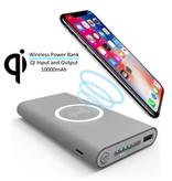 Stuff Certified® Draadloze Qi Powerbank Oplader 10.000mAh Noodaccu Wireless Charger Pad Grijs