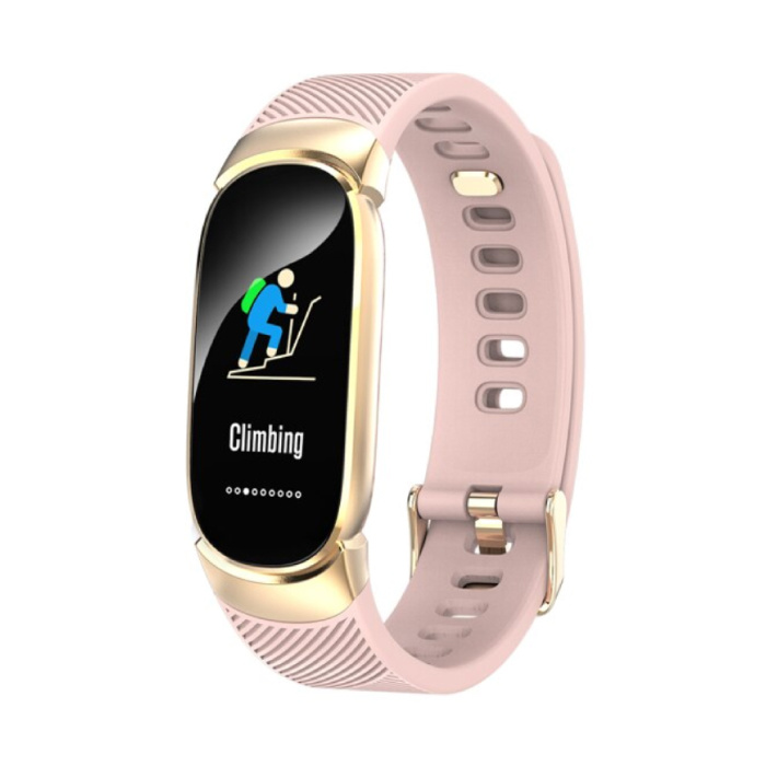 QW16 Mode Sport Smartwatch Fitness Sport Activité Tracker Montre Smartphone iOS Android iPhone Samsung Huawei Rose