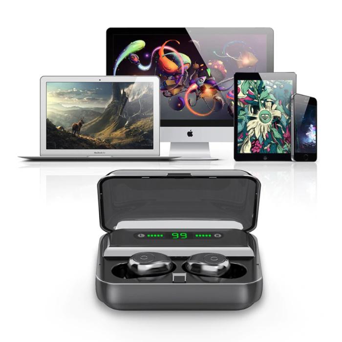 F3 Oreillettes TWS Smart Wireless Touch Control écouteurs Bluetooth 5.0 sans fil Cosses Air écouteurs Earbuds 3000mAh Power Bank Noir