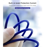 Baseus Lightning USB Charging Cable Data 3M Braided Nylon Charger iPhone / iPad / iPod Blue