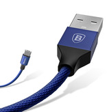 Baseus Lightning USB Oplaadkabel Datakabel 3M Gevlochten Nylon Oplader iPhone/iPad/iPod Blauw