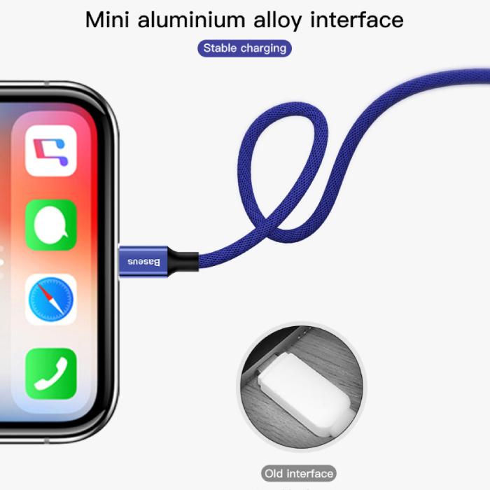Baseus Lightning USB Oplaadkabel Datakabel 5M Gevlochten Nylon Oplader iPhone/iPad/iPod Zwart