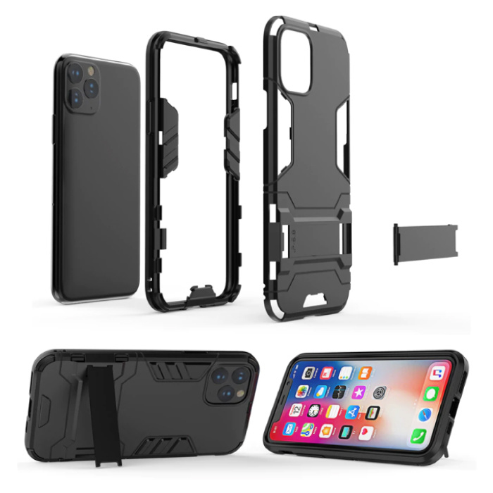 HATOLY iPhone 6 - Robotic Armor Case Cover Cas TPU Case Black + Kickstand